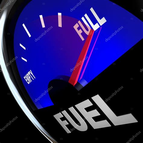 Fuel Gauge Needle Points to Full Gas Tank ⬇ Stock Photo