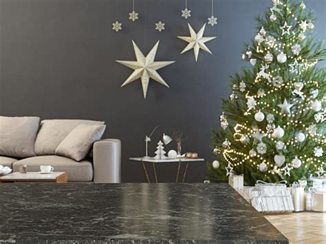 Marble Table And Blurred Christmas Tree Background Stock