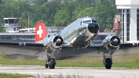 """Swissair DC-3 """"Grand Old Lady"""" Take Off at Airport Bern"""