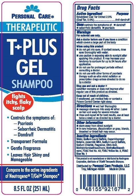 Personal Care Therapeutic T Plus Gel (shampoo) Personal