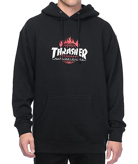 HUF x Thrasher TDS Black Pullover Hoodie at Zumiez : PDP