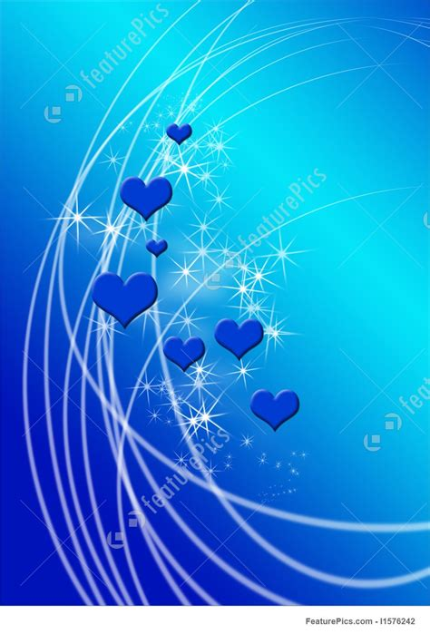 Blue Hearts And Sparkles Background