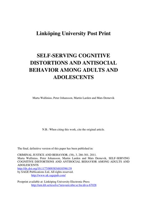 (PDF) Self-Serving Cognitive Distortions and Antisocial