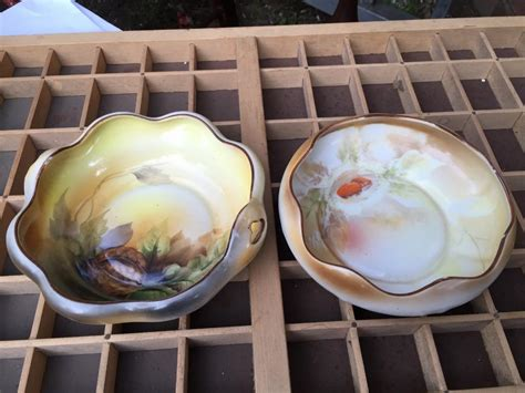 Lovely Pair Vintage Japanese Pottery Nut Condiments Lolly