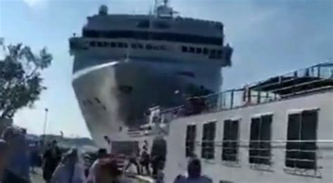 Enormous MSC Cruise Ship Crashes Into Crowded Venice Port