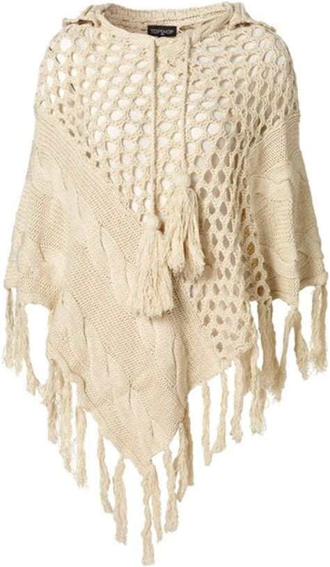 Topshop Knitted Cable Hooded Poncho in Beige (oatmeal)   Lyst