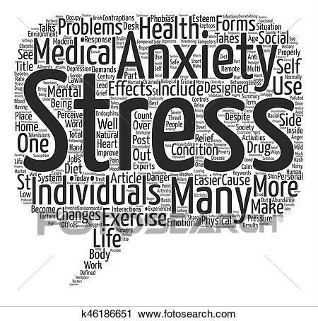 Clipart of Stress and Anxiety in Post Modern Society Word