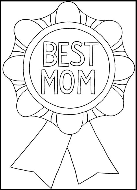 Mother Day Best Mom Medal coloring picture for kids