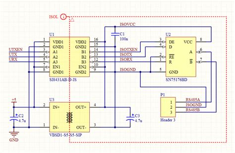 Low cost TTL to RS485 converter schematic board